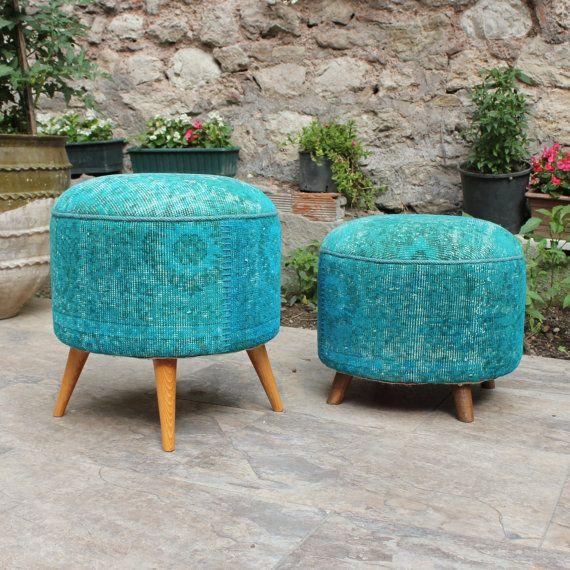 Boho meubles pouf rond pouf recouvert de tissu par DjemOverdyedRug