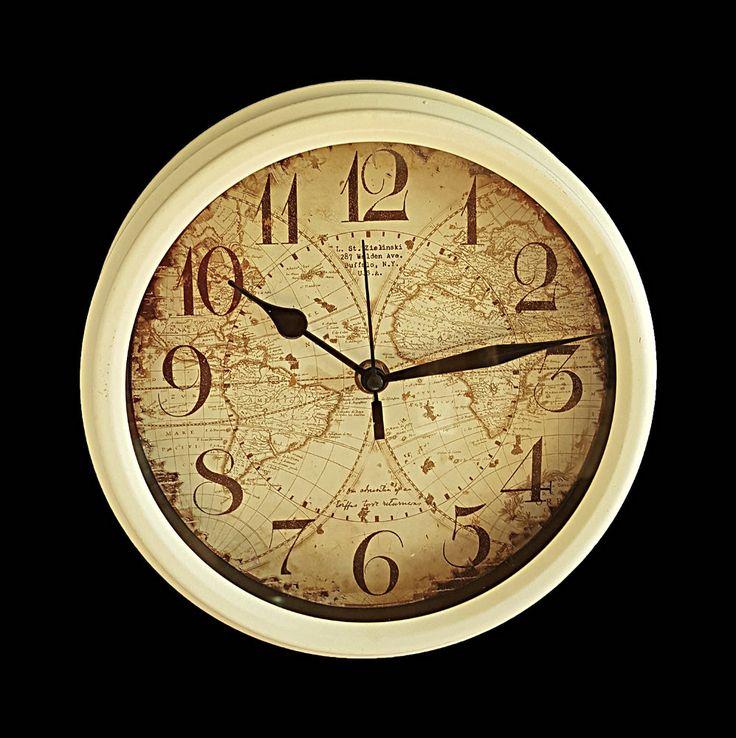 Ceas de perete Vintage Alb cu harta lumii vintage si cifre arabe. Comanda ceas de perete vintage pe aa-design-interior.ro.