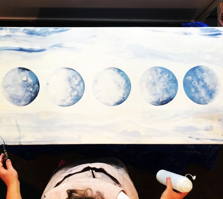 Current massive WIP.  This is a super special family of moon phases one for each family member. Its still in its early phases more photos soon when its closer to being done! Its been a fun challenge to do something new. Yay or nay??! #featureart #girlboss #art #moon #moonphase #statementart #statementpiece #australianart #australianartist #melbourneArt #melbourneArtist  #wip #comingsoon #artofinstagram #instaart #fluidart #fluidartist #abstractart #abstractartist #artforsale #artwork…