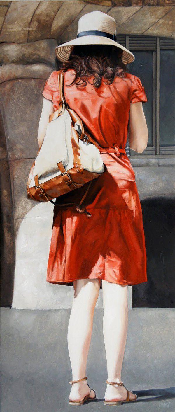 Marc Figueras-El vestit roig - Realistic Paintings by Marc Figueras