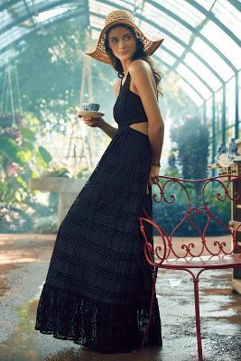 Black Lace Maxi Dress: Tracy Reese Selona Lace Petite Dress