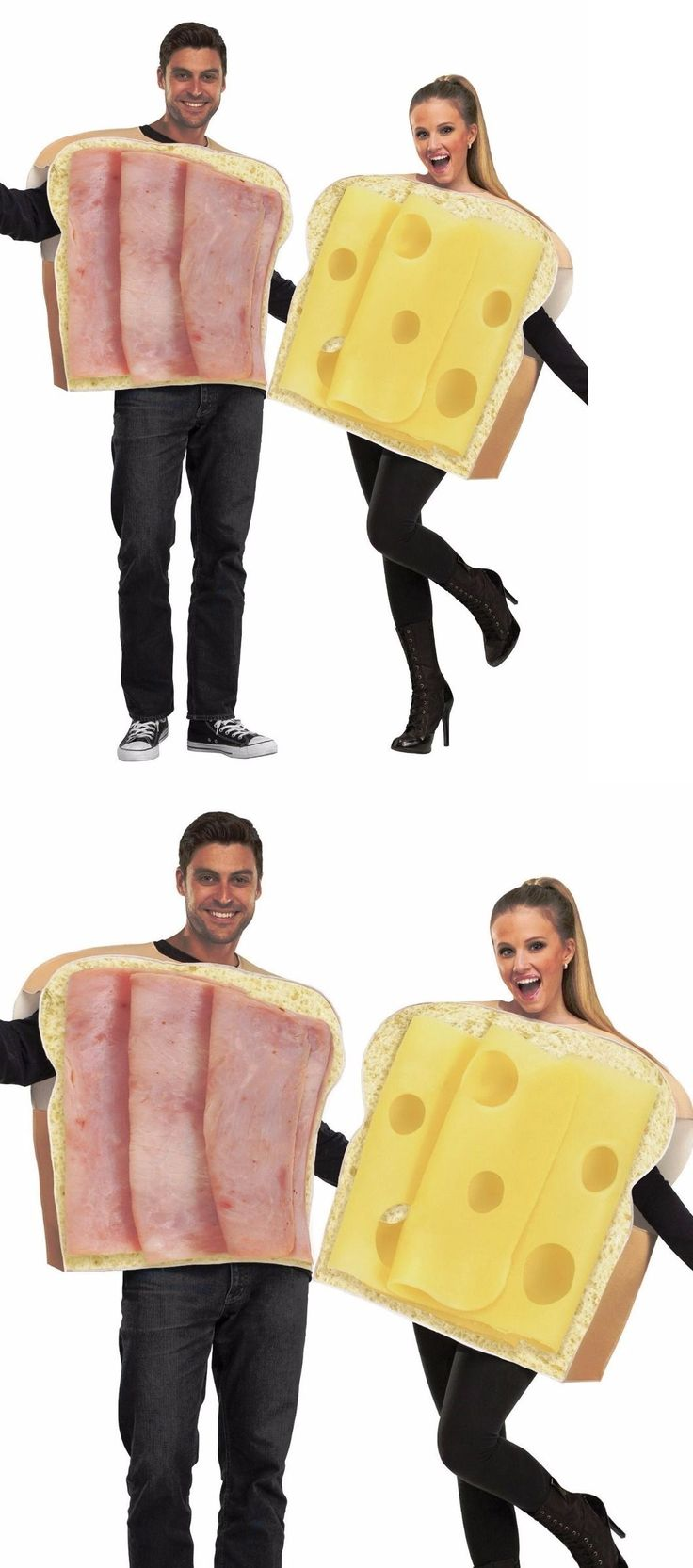 Halloween Costumes Couples: Adult Couples Ham And Swiss Cheese Costumes Funny Humorous Sandwich Food Costume BUY IT NOW ONLY: $26.21