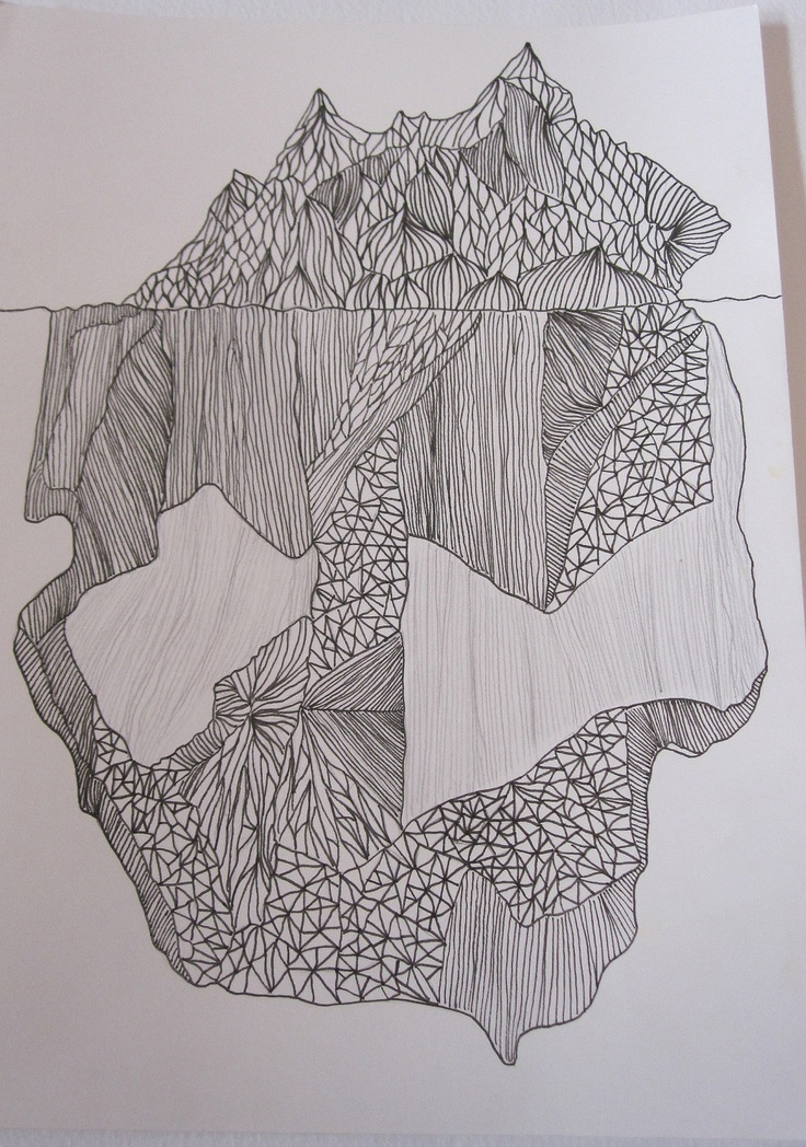 Orginal Iceberg Drawing - Underneath the Surface. $70.00, via Etsy.