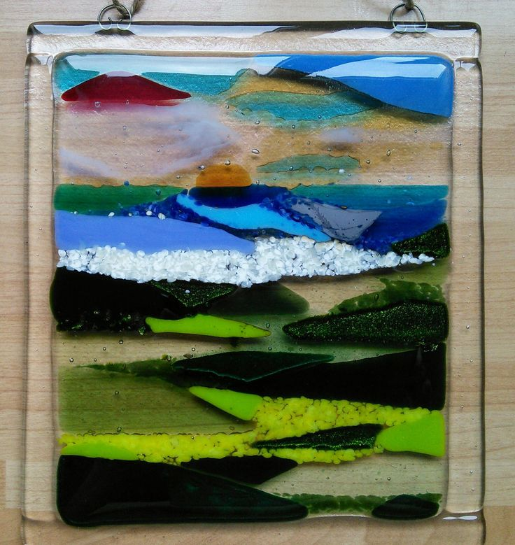 Land and seascape in beautiful fused glass, handmade wall hanging in transparent and opaque glass, sunset and sea lovers gift. by WhimsicalFusing on Etsy