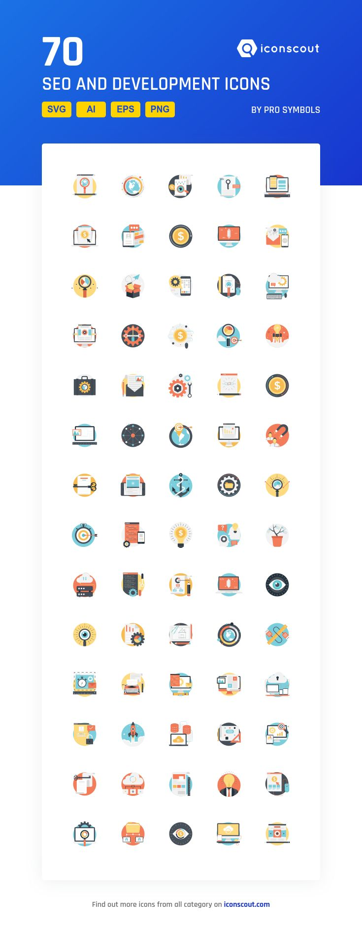 SEO And Development   Icon Pack - 70 Flat Icons