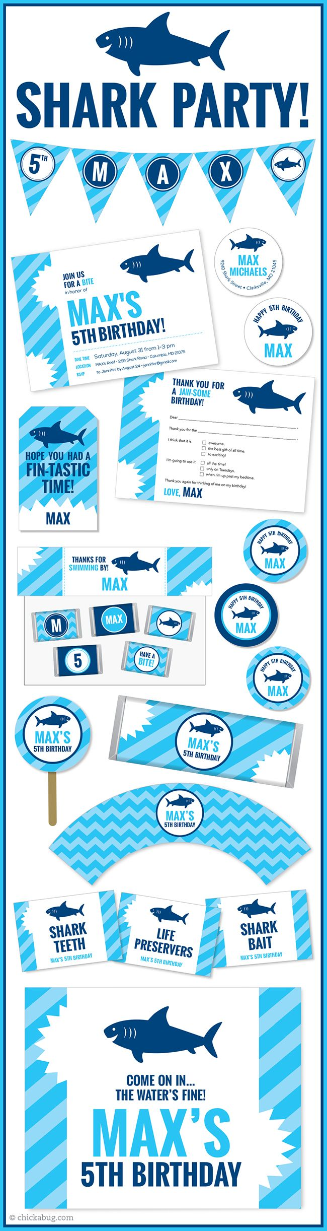 Shark theme party! Invitations, water labels, stickers, DIY party printables and lots more from Chickabug.com