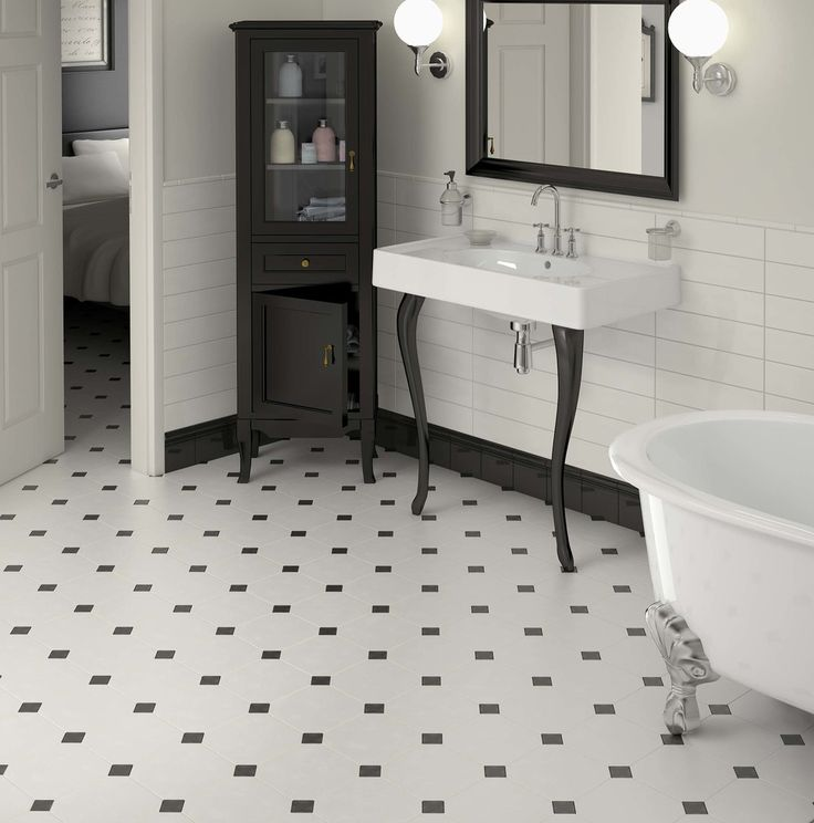 Heritage Tiles In Art Deco Style For Kitchens And Bathrooms: Bathroom With Octagonal Floor And Semi-gloss Wall Tile