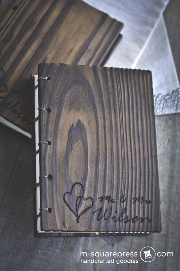 Wedding Vows Book or Guest Book. My brother could make this for me :)