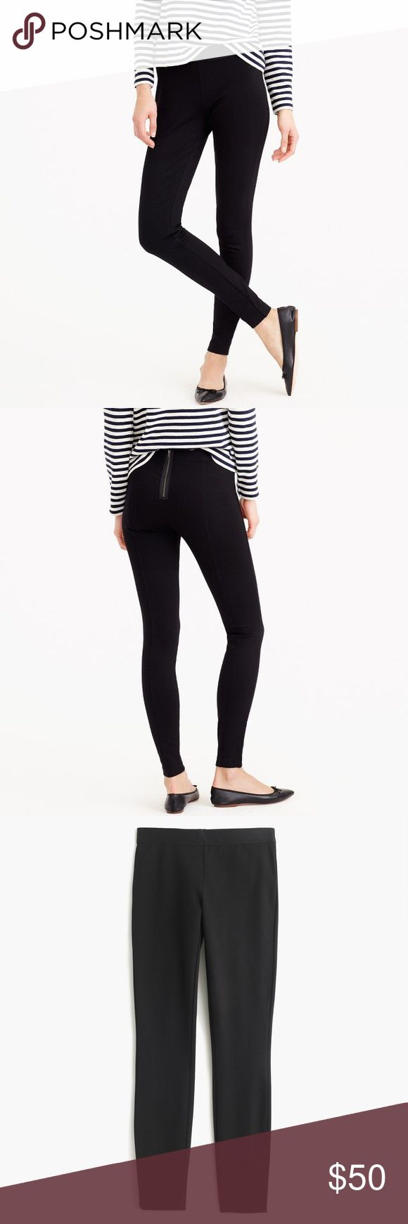 """J Crew Black Exposed Zipper Pixie Pants When we're stumped on what to wear, we start with these pants. Like a legging but more structured, they're made from a stretchy holds-you-in fabric and look good on everyone. Fitted. Elastic waist with back zip. Tapers at ankle. 29"""" inseam. Bundle 2+ items for a discount. J. Crew Pants Leggings"""