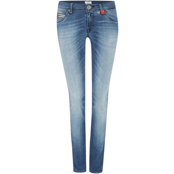 Replay Yasmeen Skinny Fit Denim ($120) ❤ liked on Polyvore featuring jeans, clearance, denim, zipper jeans, skinny jeans, blue denim jeans, denim jeans and replay jeans
