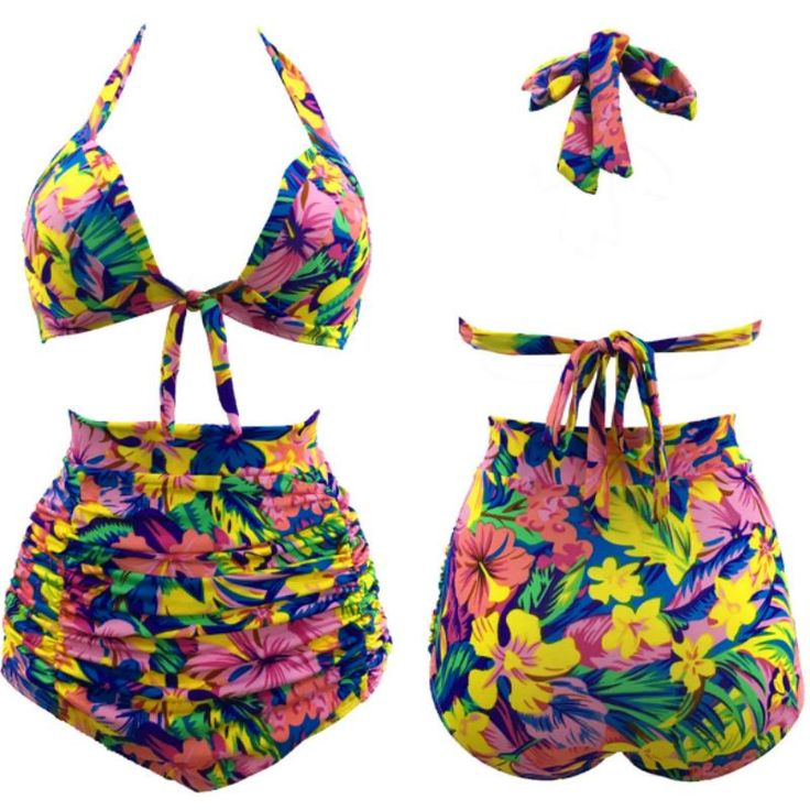 2Pcs Halter Bikini Set Floral High Waist Swimsuit Swimwear Bathing Suit