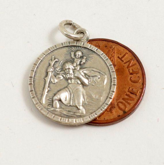 Vintage Saint Christopher Medal Pendant St Christopher by mybooms