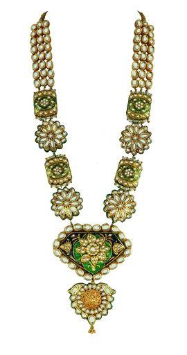 Indian Wedding Jewelry - Polki and Pearls Necklace | Polki Rani Haar with Pearl and Meenakari Work #wedmegood #polki #pearls #meenakari