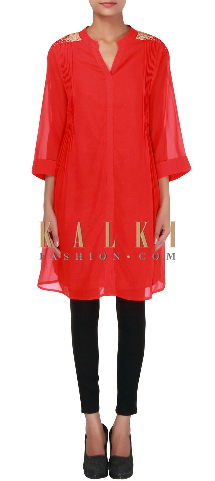 Buy Online from the link below. We ship worldwide (Free Shipping over US$100) http://www.kalkifashion.com/red-kurti-enhanced-in-pleats-and-motti-only-on-kalki.html
