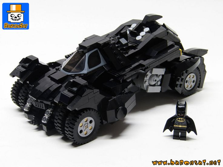 https://flic.kr/p/DRiCYn | BATMOBILE ARKHAM KNIGHT 06 | Last version of my  commissioned model of the Batmobile from ARKHAM KNIGHTfrom the video game, now ready to ship.  I made few final changes on the wheels frontals intakes and cannon area.  This was also the occasion to put a Batman minifig to show the siaze of model.