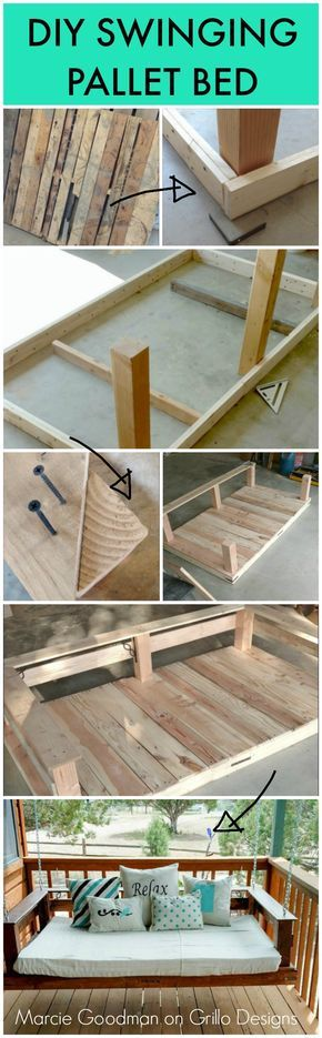 Maricie Goodman shares a step by step tutorial on how to make a DIY pallet swing! She really does make it look so easy...click to see more!