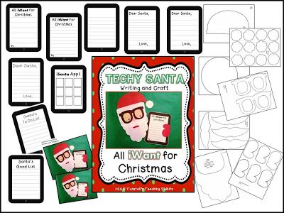 Techy Santa holding iPad writing and craft!Reading Ela Education, Teaching Tidbits, Howbert Little, Amy Howbert, Teachers Stuff, Santa Holding, Techie Santa, Organic Amyhowbert1 Gmail Com, Tunstall'S Teaching
