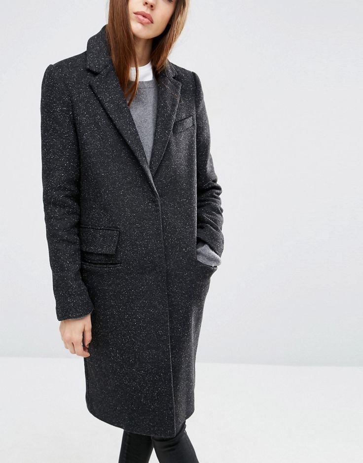 ASOS Wool Blend Slim Coat With Pocket Detail at asos.com