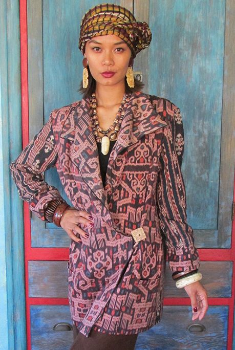 Timor-Savu Jacket by Suzi Click Cotton ikat textiles from Timor & Savu Indonesian Islands. Carved gourd button from Oaxaca