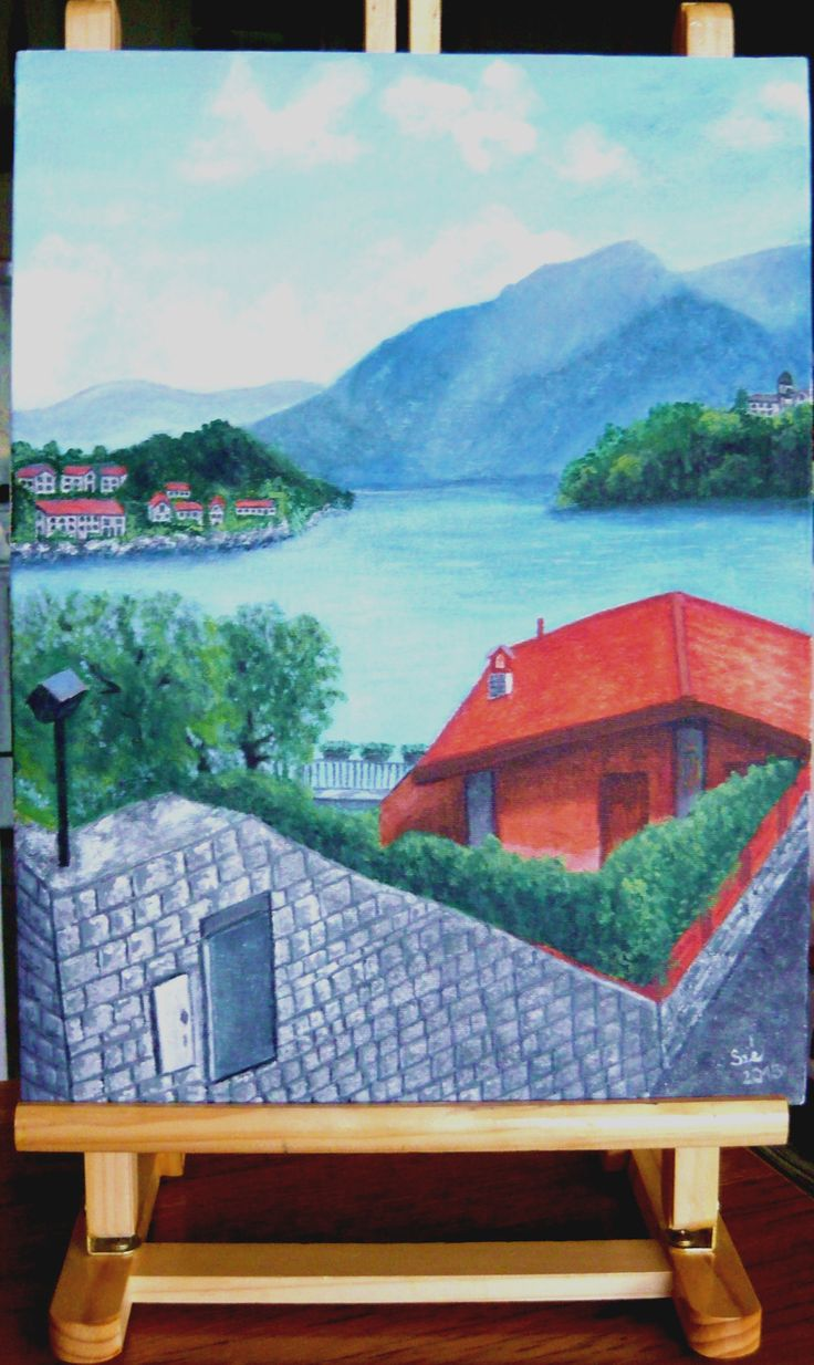 created by: Kovácsné Sz. Éva - Bellagio, lake Como, acrylic, 30x40 cm canvas (photography: Kovácsné) 2 1