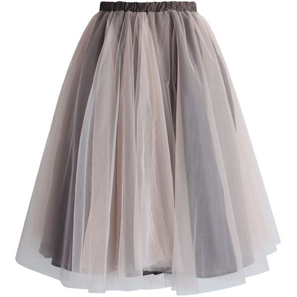 Chicwish Amore Mesh Tulle Skirt in Taupe ($40) found on Polyvore featuring skirts, bottoms, faldas, saias, brown, taupe skirt, mesh skirt, layered skirt, brown skirt and brown layered skirt