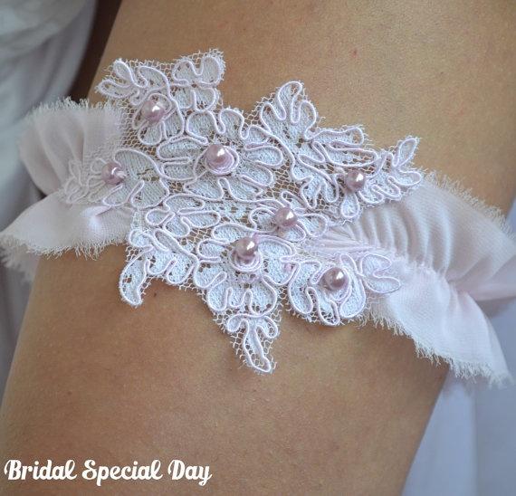 Wedding Garter Light Pink Bridal Garter With by BridalSpecialDay, €25.00