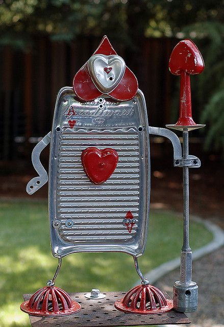 alice in wonderland card guard | garden junk/ junk art