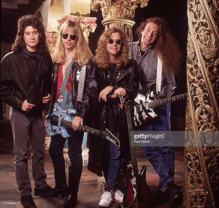 Group portrait of American music group Damn Yankees at the Aragon Ballroom, Chicago, Illinois, February 18, 1991. Pictured are, from left, Michael Cartellone, Tommy Shaw, Jack Blades, and Ted Nugent.
