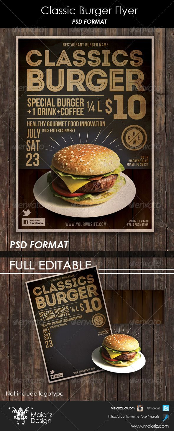 Classic Burger Flyer template for restaurant, easy edit photoshop format…