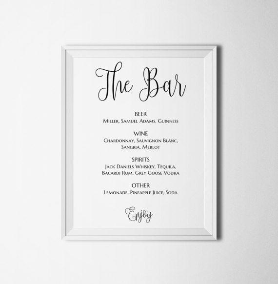 41 best Wedding menu images on Pinterest Drinks, Bar menu and - drinks menu template