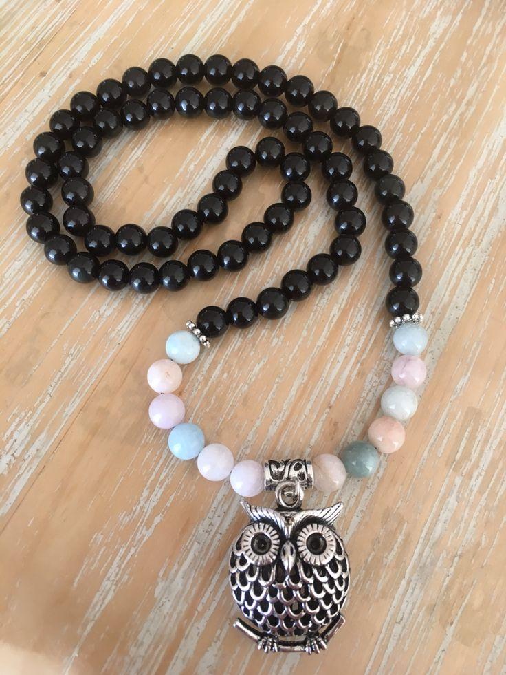 Morganite & Black Obsidian gemstone necklace