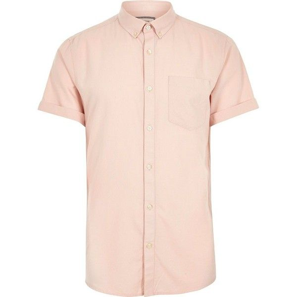 River Island Pink short sleeve Oxford shirt ($22) ❤ liked on Polyvore featuring men's fashion, men's clothing, men's shirts, men's casual shirts, shirts, mens casual short sleeve shirts, mens short sleeve cotton shirts, mens cotton shirts, mens pink short sleeve dress shirt and mens oxford shirts