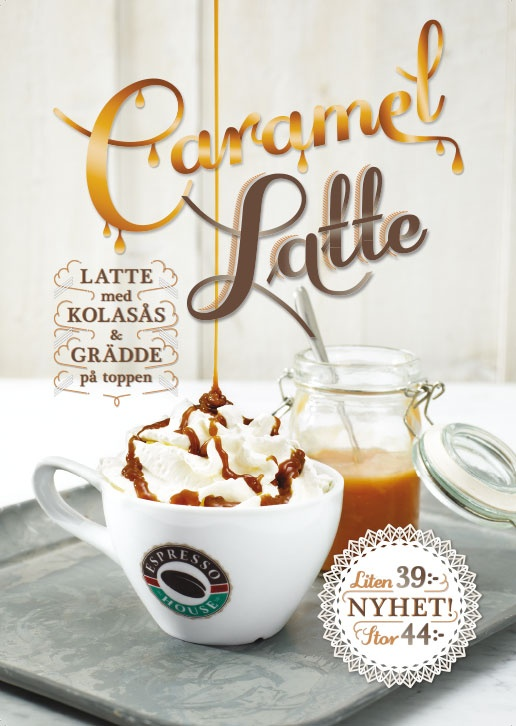Caramel Latte February 2013. Our yummi Caramel Latte is now here with a brand new recipe. Starting with REAL caramel sauce in the bottom, coffee, skimmed milk, topped with whipped cream and sprinkled with - once again - caramel sauce!