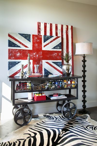 Union Jack & Stars & Stripes Canvas + trolly cart.  DO NOT MISS the great interior design ideas at this link!!