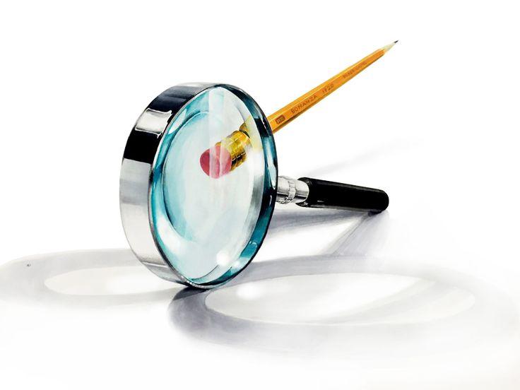 개체,소재,돋보기,연필,색채정밀,개체표현,기초디자인