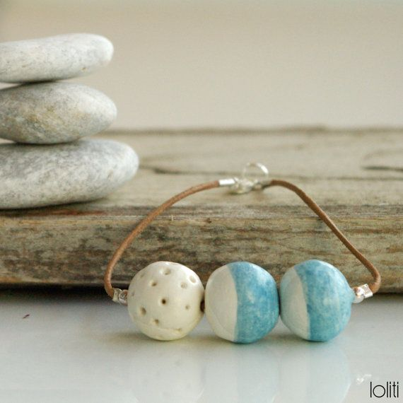 bracelet inspired by sea, summer, seafoam and beach, unique for everyday, hues of ocean, copper anchor, leather cord, FREE SHIPPING