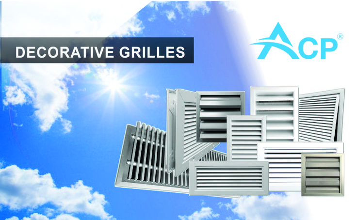 Decorative grilles with standard and custom dimensions for ventilation systems.