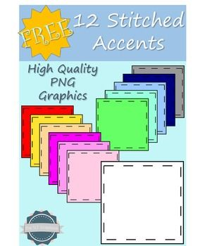 These stitched style page accents are great for front covers of your products, or labels for your classroom. The pack includes 12 stitched squares of varying colours. These are fine to use for personal and commercial use. Credit is required, please read the Terms of Use document included in the download.