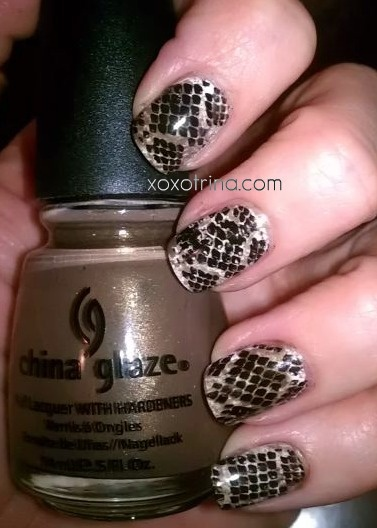 snakeskin nails - Konad
