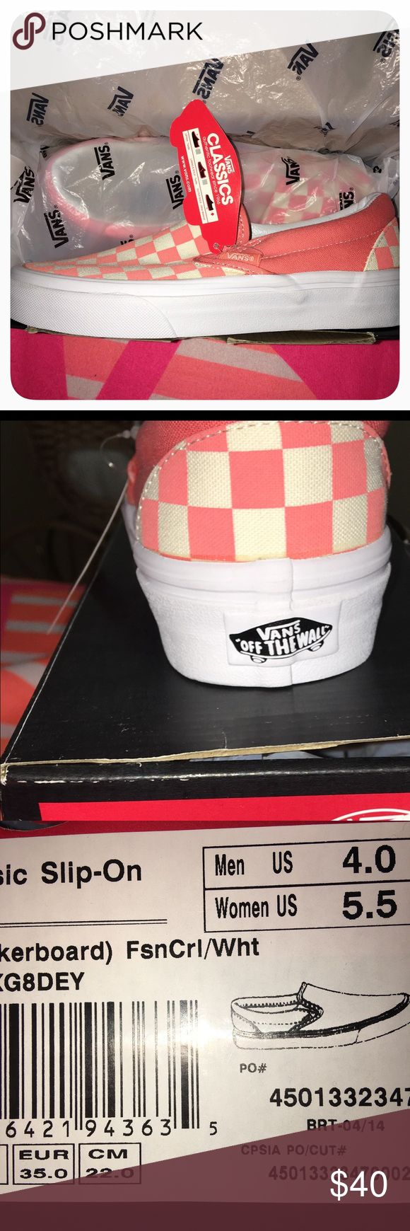 Vans Classic Slip On Checkerboard Print In box Vans Checkerboard Slip On Sneakers Men's size 4 Women's size 5.5 Vans Shoes Sneakers