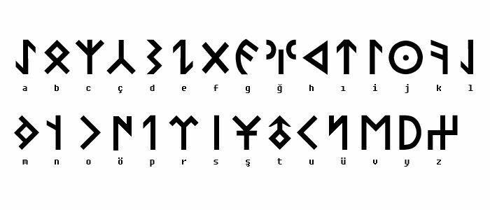 Ancient Turkish Alphabet for tattoo