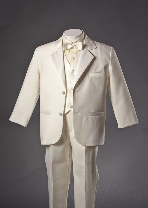 Boys Ivory Tuxedos | Boys Tuxedos | Toddler Tuxedos | Ring Bearer Tuxedos - - Quality Formal Wear for Boys & Toddlers |Tuxedos, Suits, Vests & More - Boys Ivory 2 Button Notch Tuxedo with Ivory Vest Set (Bow Tie) by Fouger - Fouger