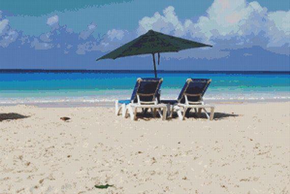 Barbados Beach Cross Stitch Pattern by Mydreamsofavalon on Etsy, $6.00