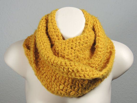 Crochet Infinity Scarf Cowl Mustard Mohair by SimplyStitcheduk