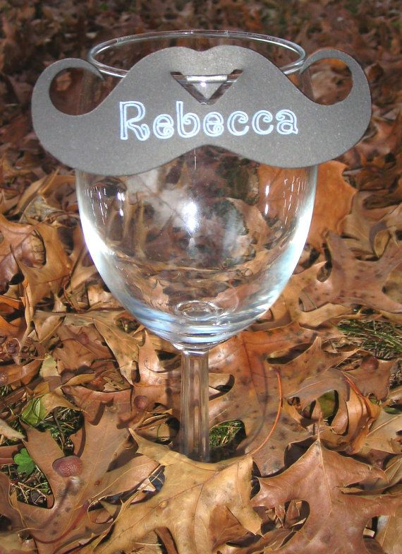 Mustache Wine Glass Place Cards
