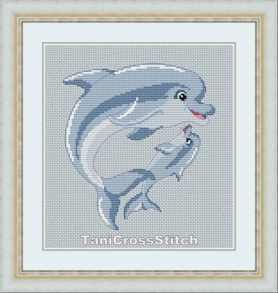 Cross stitch pattern  Dolphin mother and baby от TaniCrossStitch, $5.50