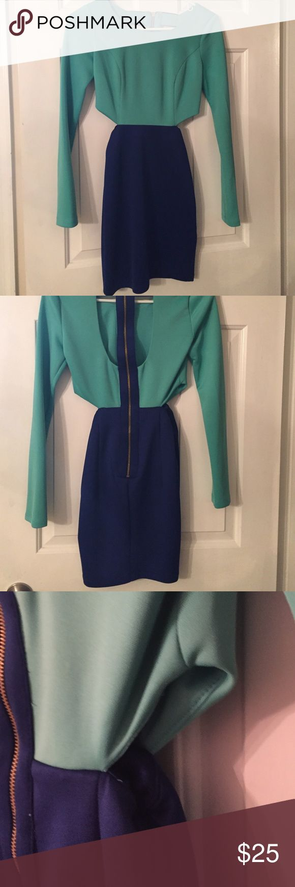 GBX X Small Cut out Dress GBS Xsmall Aqua, and blue dress with gold hardware, and cut out designs on the side. Really cute for a night out. Smoke free/no pets home. GBX Dresses Mini