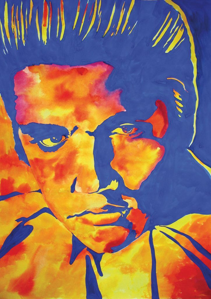 Elvis Presley-Watercolour and gouache on Bockingford paper. Painting by Sara Topham for the Porthcawl Elvis Festival.