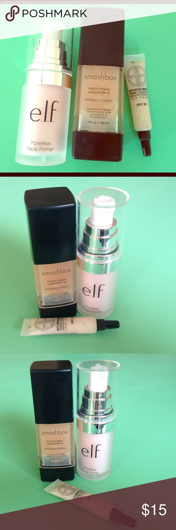 Smashbox photo finish foundation primer elf primer I'm selling this 3 piece cosmetic face primer lot. The elf primer is the studio line pore less face primer used once.      The smashbox photo finish sod 15 foundation primer is 3/4 full as seen in photo...             You will also receive a sample size studio gear prime objective face primer, tried once.  I will be adding tons more makeup, I have a dresser full of everything! Smashbox Makeup Face Primer