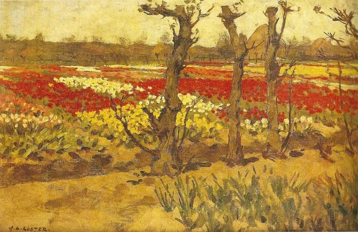 Schiilderij Bennebroek bloembollenvelden aan de Dageraad